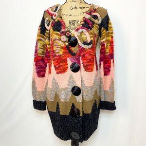 Sleeping on Snow Wool Blend Knit Applique Cardigan